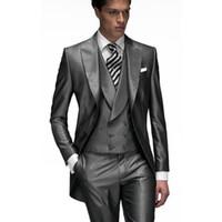 Wholesale Tailcoat Grey - 2017 Dark Grey Custom Made Groom Tuxedos Groomsmen Best man Men's Wedding Suits (Jacket+Pants+Vest) wedding Tailcoat suit EW7103