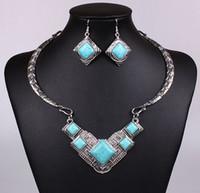 Wholesale Vintage Emerald Crystal Necklaces - Fashion Vintage Necklace Set Antique Silver Turquoise Jewelry Set Dangle Earrings Classic Pendant Design Fine Jewelry Sets