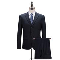 Wholesale Gents Suits - Wholesale- (Jackets+Pants) Navy Blue Solid Color Working Suit Men's Suits Business Suits Formal Wear High Quality Brand Blazer Gent Life