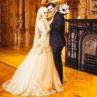 Wholesale Satin Charmeuse Wedding Dresses - A Line Gold Color Country Style Long Sleeve High Collar Sweep Train Charmeuse Tulle Lace Paillette Wedding Dress Autum Spring
