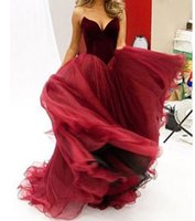 Wholesale Sexy Backless Outfit - burgundy prom dresses 2017 sweetheart neckline velvet top tulle skirts evening dresses pageant gowns party dresses bridal outfits