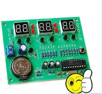Venta al por mayor-DIY AT89C2051 6bits Digital LED Reloj electrónico Digital Clock Kit
