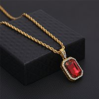 Wholesale blue ice plant - Men Hip Hop Red Black Green Blue Square Gem Pendant Necklaces Bling Bling Hain Iced Out Necklace Unisex Jewelry