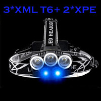 2017 Nouveau 5Led Waterproof 8000ALm 3 * XML T6 + 2 * LED USB Headlight Headlamp Head Lamp Light 5-mode Torch for Fishing Camping Hunting