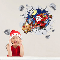 Wholesale Children Cartoon Background - 2017 Christmas 3D Wall stickers Santa Claus Wallpaper Children Room Decorations Christmas Ornament PVC Wall Painting Background wall