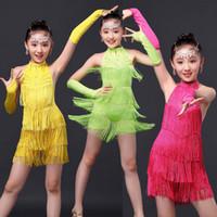 Wholesale Dancewear Latin Dress - Girls Sequined Tassels Latin Dance Competition dress Kids Ballroom Tango Salsa Fringe costumesDress child dancewear outfits