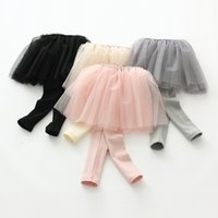 Wholesale Korean Children Tights - Grils culottes 4 color korean style multilayer tulle tights children cotton long pants 2017 spring new kids princess dress leggings T1073