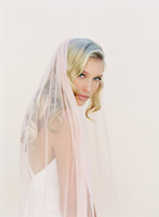 Wholesale pink wedding veil resale online - Waltz length white ivory Champagne pink wedding veil one layer cut edge bridal veil with comb A17