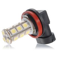 лучшие цены светодиодные лампы оптовых-2 шт./лот Лучшая цена Белый H11 H8 18 LED 5050 SMD автомобилей Авто день вождения противотуманные фары Фара лампы DC12 в