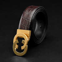 Wholesale Golden Layer - Luxurious Gifts For Men Smooth Buckle Belts Genuine Cowhide Leather Head Layer Leather Italy Brand Crocodil Belt Business Girdle