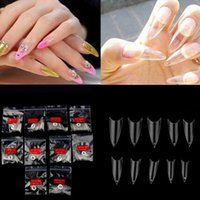 Wholesale Curve Artificial Nail - Wholesale- New Fake Nail Tips Completely Curved 500pcs Transparent Full Cover French False Nails Artificial Nails Free Shipping