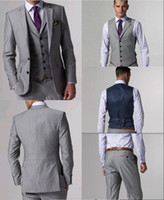 Wholesale Men S Vest Pants - High Quality Wool Suits Side Slit Light Gray Groom Tuxedos Notch Lapel Man Business Suits Prom Suits (Jacket+Pants+Tie+Vest) L:02
