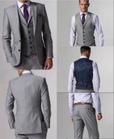 trajes de negocios de calidad para los hombres al por mayor-Trajes de lana de alta calidad con hendidura lateral gris claro Esmoquin esmoquin con muesca solapa Trajes de negocios Trajes de prom (chaqueta + pantalones + corbata + chaleco) L: 02
