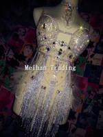 Wholesale Sexy Party Bodysuits - Fashion Glisten Rhinestone Tassel Leotard Women Sexy Party Sequins Bodysuits Bra Costumes Stage Dance Nightclub Party Wear