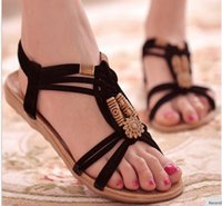Wholesale Elastic String For Beads - Summer Fashion Flip Flops Women's Beach Sandals String Bead Black Elastic Bands Flat Shoes Gladiator Sandalias Mujer for Women