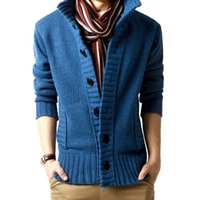 Wholesale Mens Fashion Knitwear - Autumn Mens Sweaters Cotton Knitted Cardigan Knitting Man's Slim Knitwear Clothes Sweatercoats Solid Color Black Outwear Man