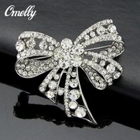 bulk rhinestone pins achat en gros de-Cute Bow Crystal Rhinestone Broches Pins Bouquet de mariage Boucles d'oreilles Broach Jewelry Wholesale In Bulk Cheap Price