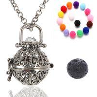 Wholesale white volcanic stone jewelry - Openwork Essential Oil Necklace Aromatherapy Jewelry Wholesale Jewelry Lockets Aromatherapy Pendant Lava Volcanic Stone Metal B379Q