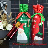 Wholesale Red Dining Tables - Christmas Wine Bottle Cover Non-woven fabric cover Atmosphere arrangement of Christmas table, dining room and living room.