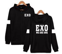 Wholesale Exo Kris - Korea Hot Team KPOP EXO CHAN YEOL D.O We are one LUHAN BAEK HYUN KRIS TAO Black Zip Hoodies Jacket Coat Concert Costumes SA0003
