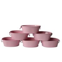 kindertöpfe freies verschiffen großhandel-Freier Verschiffengroßverkauf rosafarbener kleiner Bevorzugungseimermetallovaler saftiger Potenziometer-Balkon-Garten-Blumentopf Pflanzer-Minikindertopf
