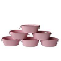 Wholesale Metal Garden Flowers - Free Shipping wholesale Pink small Favor Pail metal oval Succulent pots Balcony Garden Flower pot Planter mini Nursery Pot