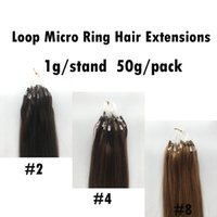 Best Quality Brazilian Remy Hair Loop Micro Ring Hair Extensions # 2 # 4 # 8 1g / s 50s Em estoque