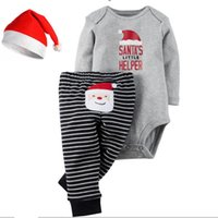 Wholesale santa baby romper - 2016 Christmas Xmas Outfits baby Romper Christmas deer girls boys Santa Claus Romper+Striped pants 2pcs set Xmas bodysuit pant set best