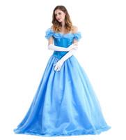 erwachsene prinzessinkleider großhandel-Frauen Erwachsene klassische Schönheit Märchen Cinderella Prinzessin langes Kleid Kleid Spiel Uniform