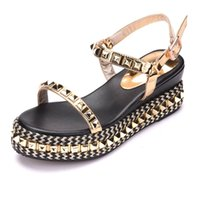Wholesale Rhinestone Wedge Sandals - Large Size Quality Women's Platform Sandals Summer Shoes Wedges 2017 Rhinestone Golden Sandals Women Med Heels