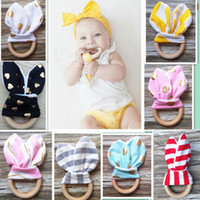 Wholesale Baby Soothers Teethers New Natural Wood Circle Teeth Practice Toys Training With Rabbit Ear Fabric For Newborn INS Chevron Rings PX T14