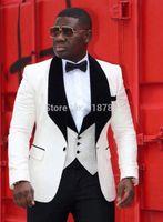 Wholesale Groomsmen Suits Red - Wholesale- 2017 Brand Groom Dress Formal Wear Groomsmen White Black Red Wedding Suits Blazer Men's Prom Tuxedos (Jacket+Pants+Vest+Bow)