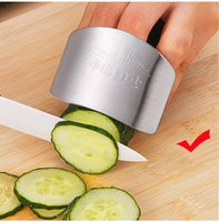 Wholesale Safe Slice - Free shipping Kitchen Cooking Tools Stainless Steel Finger Hand Protector Guard Personalized Design Chop Safe Slice Knife ELH025