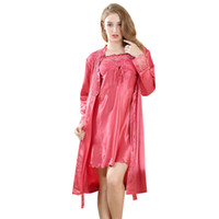 Wholesale Women Sexy Underwea - 2017 Sexy Women's Japanese Satin Night Dress Lace Women Sleepwear Sleeveless Nighties V-neck Nightdress Sexy Sleeveless Robe Flower Underwea