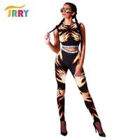 Wholesale Wholesale Two Piece Bodycon - Wholesale- JRRY Fashion Pattern Print Two Pieces Women Jumpsuit Sleeveless Turtleneck Crop Top Long Bodycon Pants Ladies Romper