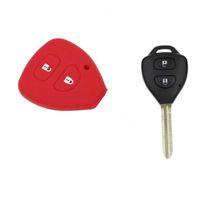 tampa do fob chave da toyota corolla venda por atacado-Garantido 100% 2 Botão Remoto Fob Shell Case Silicon Car Key Cover para TOYOTA Corolla Camry Frete Grátis