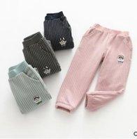 Wholesale Dog Girls Pants - Girls leggings kids dog letter embroidery leisure pants children stripe Thickening Warm tights girls princess softs bottoms G1500
