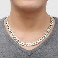 Wholesale Titanium Thick Necklaces - Men's Fashion Jewelry Alloy Silver Necklace gift for husband Cool Creative Link Chain Genuine Solid Titanium Steel Thick Chain