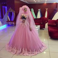 Wholesale Hijab Wedding Dresses Plus Size - Pink Islamic Hijab Lace Ball Gown Wedding Dresses 2017 High Neck Long Sleeves Plus Size Muslim Kaftan Turkey Bridal Gowns Vestidos De Fiesta