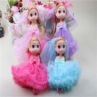 Wholesale Korean Boys Dressing - 18CM confused dolls new Korean girl wedding dress wedding doll children doll pendant gift