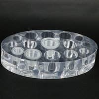 Wholesale Cap Rack Wholesale - Oval Clear Acrylic Pigment Cup Cap Rack Permanent Tattoo Ink Cup Holder Stand 15 Holes Tattoo Accessories