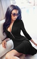 Wholesale Designer Sundresses Dresses - 2016 Hot Senior Designer Deep V Neck Elegant Dresses Evening Party Dresses Seven Sleeve Bodycon Dresses Mini Casual Sundresses