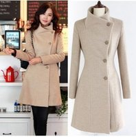 Wholesale Women Slim Cloth - 2017 HOT SALE women Autumn and winter woolen cloth coat fashion dust coat 3 colors size S-3XL