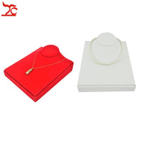 Wholesale White Necklace Bust - Luxury Jewelry Display Bust Red Velvet Necklace Stand Horizontal White PU Pendant Holder Wooden Pearl Jewelry Mannequin Stand