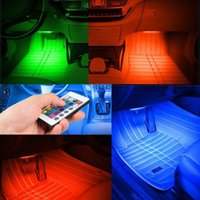 Wholesale- 1 set 9 Beautiful and Romantic Atmosphere Lights LED Télécommande Colorful Car Intérieur Intérieur Décor Lampes Lumières Carling Light