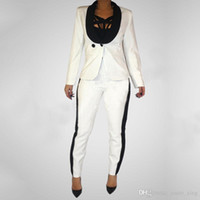 Wholesale Ladies Short Sleeve Office Suits - 2017 Spring autumn 2 piece set women black white pants suit OL office suit womens business fashion suits casual ladies two suits