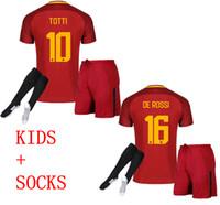 Wholesale Kid Boy Wearing Shirt Short - 2017 2018 Rome kids Jersey 17 18 TOTTI NAINGGOLAN DZEKO PEROTTI DE ROSSI Boys Sports Wear shirts+shorts socks