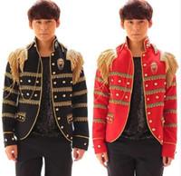 Wholesale Epaulette Jackets Collar - Black red suit men blazers 2017 jacket designs terno costumes stage clothes for singers dance men blazer style dress epaulette
