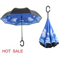 Wholesale Shipping Tube Handle - Creative inverted umbrellas double layer with G handle inside out reverse Windproof umbrella 28 colors available free shipping