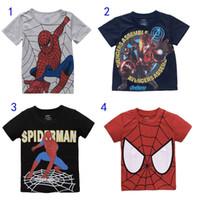 Wholesale Superhero Boys Shirts - Kids Superhero T-shirt The Avengers Spiderman 4 Colors Short Sleeves Cotton T shirt 2-8T Boys Girls Casual Tops Cosplay MD091